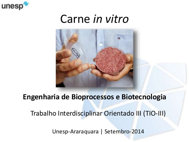 Carne in vitro  Engenharia de Bioprocessos e Biotecnologia  Trabalho Interdisciplinar Orientado III (TIO-III)  Unesp-Arara...