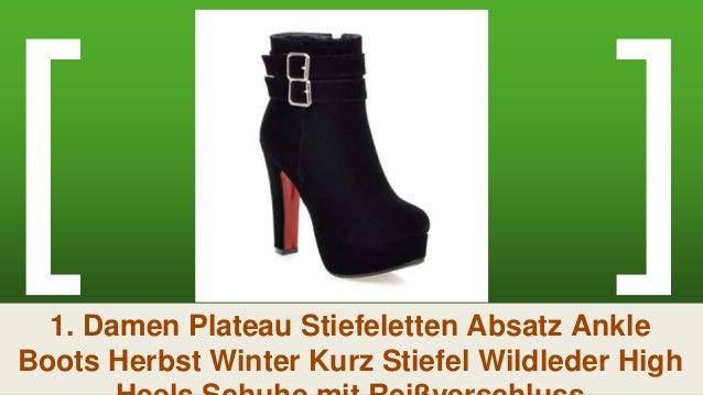 YE Damen Ankle Boots Plateau High Heels Stiefeletten mit
