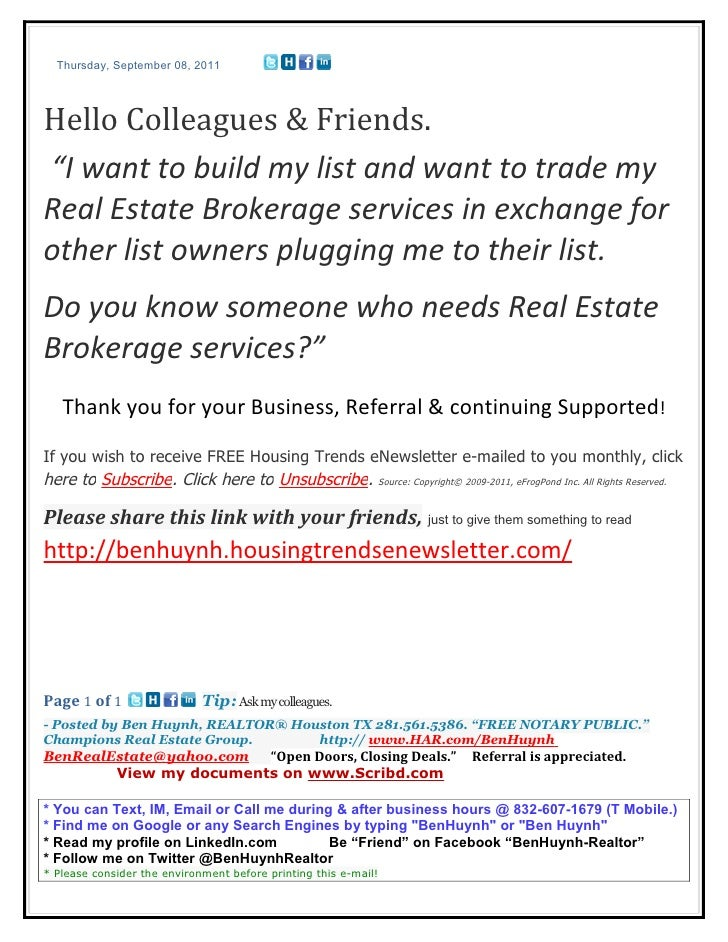 """Thursday, September 08, 2011Hello Colleagues & Friends.""""I want to build my list and want to trade myReal Estate Brokerage ..."""