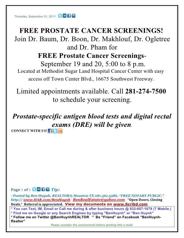 Thursday, September 01, 2011   FREE PROSTATE CANCER SCREENINGS! Join Dr. Baum, Dr. Boon, Dr. Makhlouf, Dr. Ogletree       ...