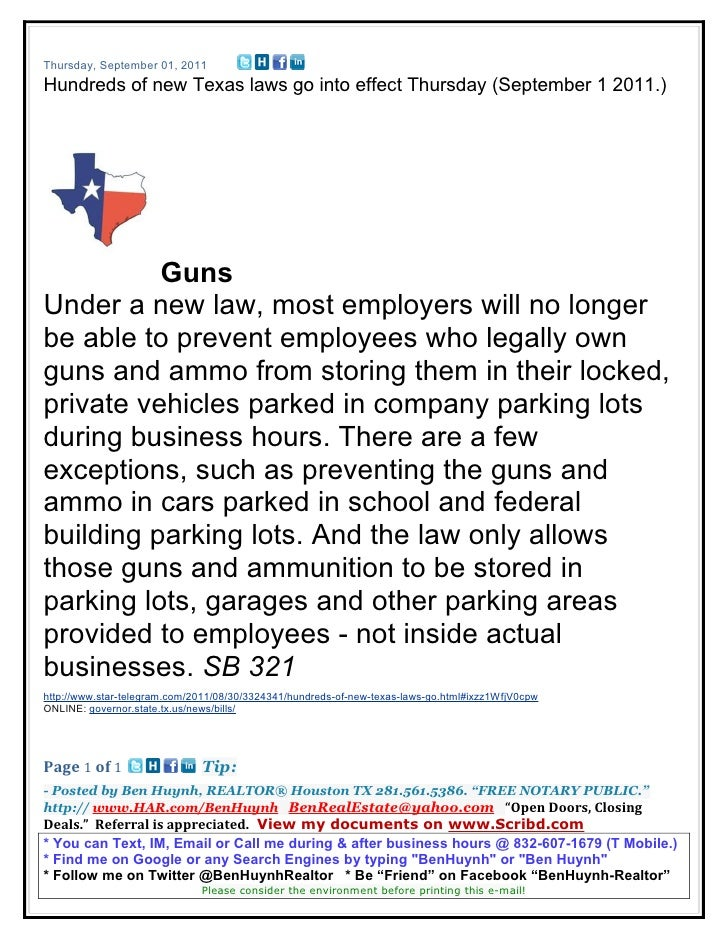 Thursday, September 01, 2011Hundreds of new Texas laws go into effect Thursday (September 1 2011.)          GunsUnder a ne...
