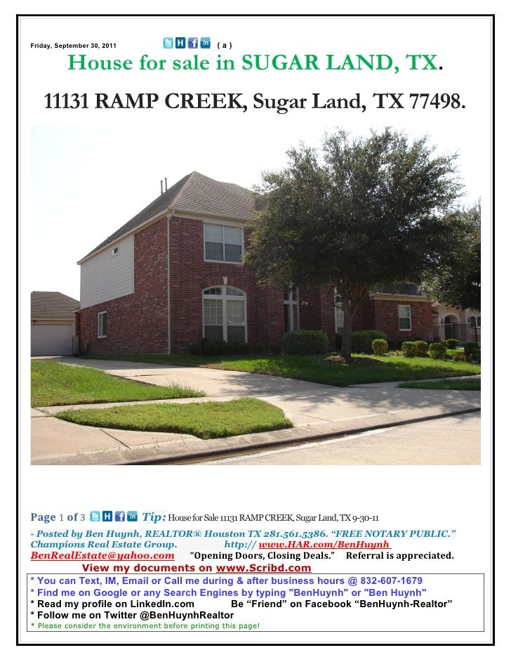 Friday, September 30, 2011                      (a)           House for sale in SUGAR LAND, TX.   11131 RAMP CREEK, Sugar ...
