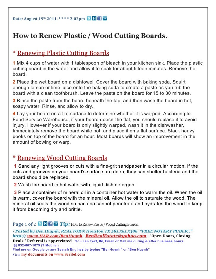 Date: August 19th 2011. * * * * 2:02pmHow to Renew Plastic / Wood Cutting Boards.* Renewing Plastic Cutting Boards1 Mix 4 ...