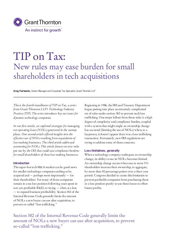 TIP on Tax: New rules may ease burden for small shareholders in tech acquisitions This is the fourth installment of TIP on...