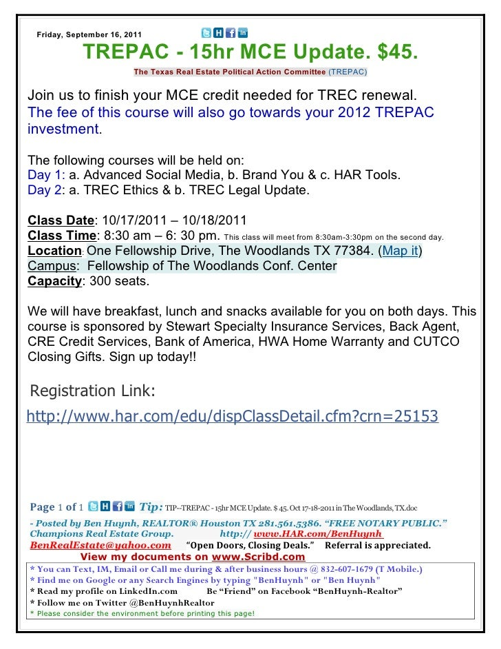Friday, September 16, 2011              TREPAC - 15hr MCE Update. $45.                           The Texas Real Estate Pol...