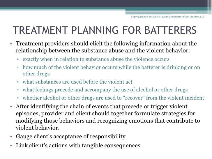 domestic violence treatment plan Domestic violence offender  i standards for domestic violence offender intervention program   treatment plan and offender progress,.