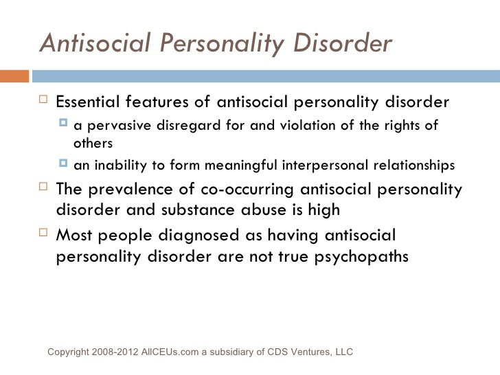 Hookup someone with antisocial personality disorder