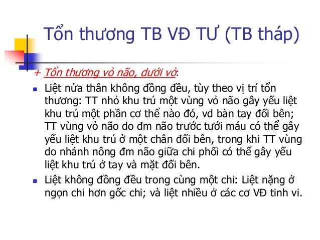 Tổn thƣơng TB VĐ TƢ (TB tháp)  Thƣờng kèm các dấu hiệu khác của tổn thƣơng vỏ não: RL CG (tổn thƣơng thùy đính), bán manh...