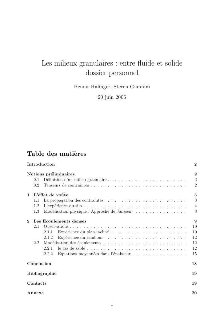 Les milieux granulaires : entre fluide et solide                     dossier personnel                         Benoit Halin...
