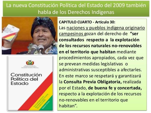 La nueva Constitución Política del Estado del 2009 también habla de los Derechos Indígenas CAPITULO CUARTO - Articulo 30: ...