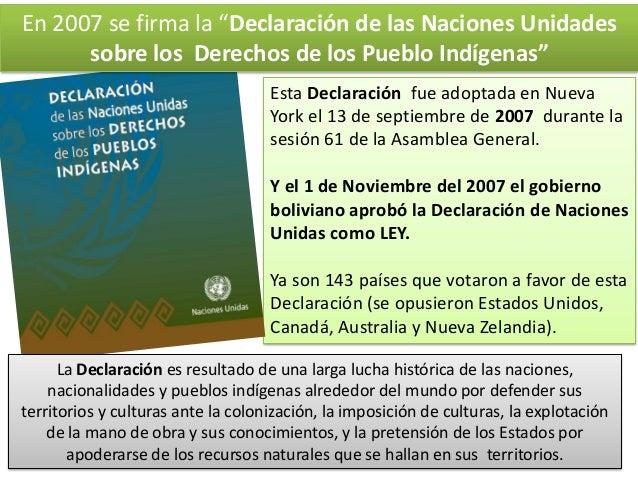 """En 2007 se firma la """"Declaración de las Naciones Unidades sobre los Derechos de los Pueblo Indígenas"""" Esta Declaración fue..."""