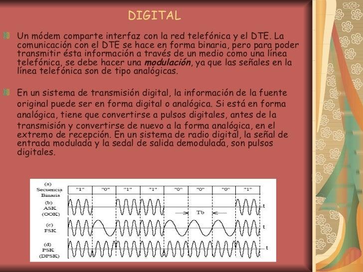 DIGITAL <ul><li>Un módem comparte interfaz con la red telefónica y el DTE. La comunicación con el DTE se hace en forma bin...