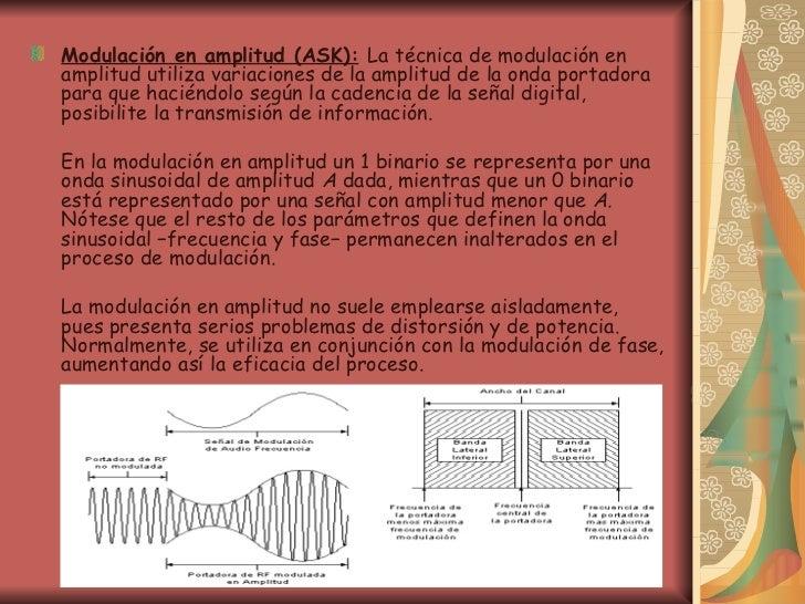 <ul><li>Modulación en amplitud (ASK):   La técnica de modulación en amplitud utiliza variaciones de la amplitud de la onda...