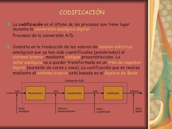 CODIFICACIÒN <ul><li>La  codificación  es el último de los procesos que tiene lugar durante la  conversión analógica-digit...