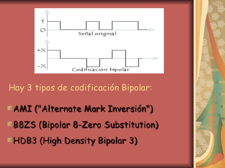 Hay 3 tipos de codificación Bipolar: <ul><li>AMI (&quot;Alternate Mark Inversión&quot;)   </li></ul><ul><li>B8ZS (Bipolar ...