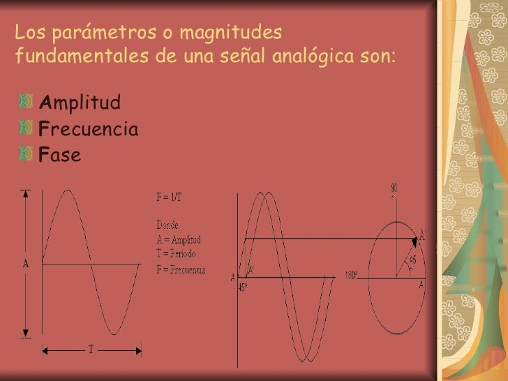Los parámetros o magnitudes fundamentales de una señal analógica son : <ul><li>A mplitud  </li></ul><ul><li>F recuencia </...