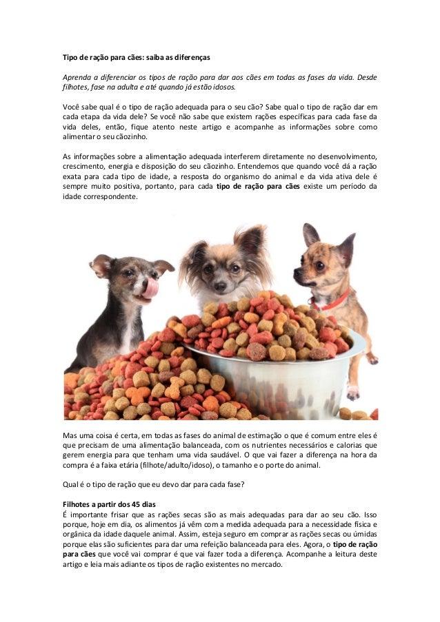 Tipo de ração para cães: saiba as diferenças Aprenda a diferenciar os tipos de ração para dar aos cães em todas as fases d...