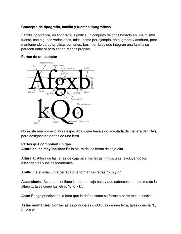 Concepto de tipografía, familia y fuentes tipográficasFamilia tipográfica, en tipografía, significa un conjunto de tipos b...