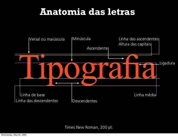 Anatomia das letras                            Versal ou maiúscula      Minúscula               Linha das ascendentes     ...