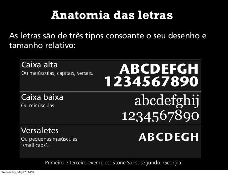 Anatomia das letras      As letras são de três tipos consoante o seu desenho e      tamanho relativo:               Caixa ...