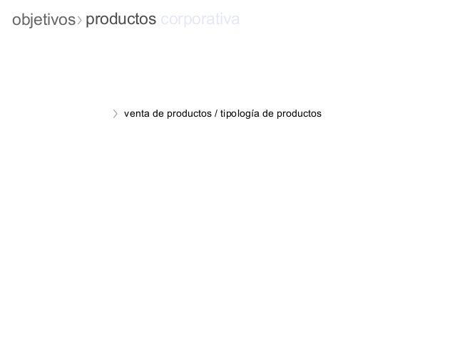 objetivos productos corporativa               venta de productos / tipología de productos