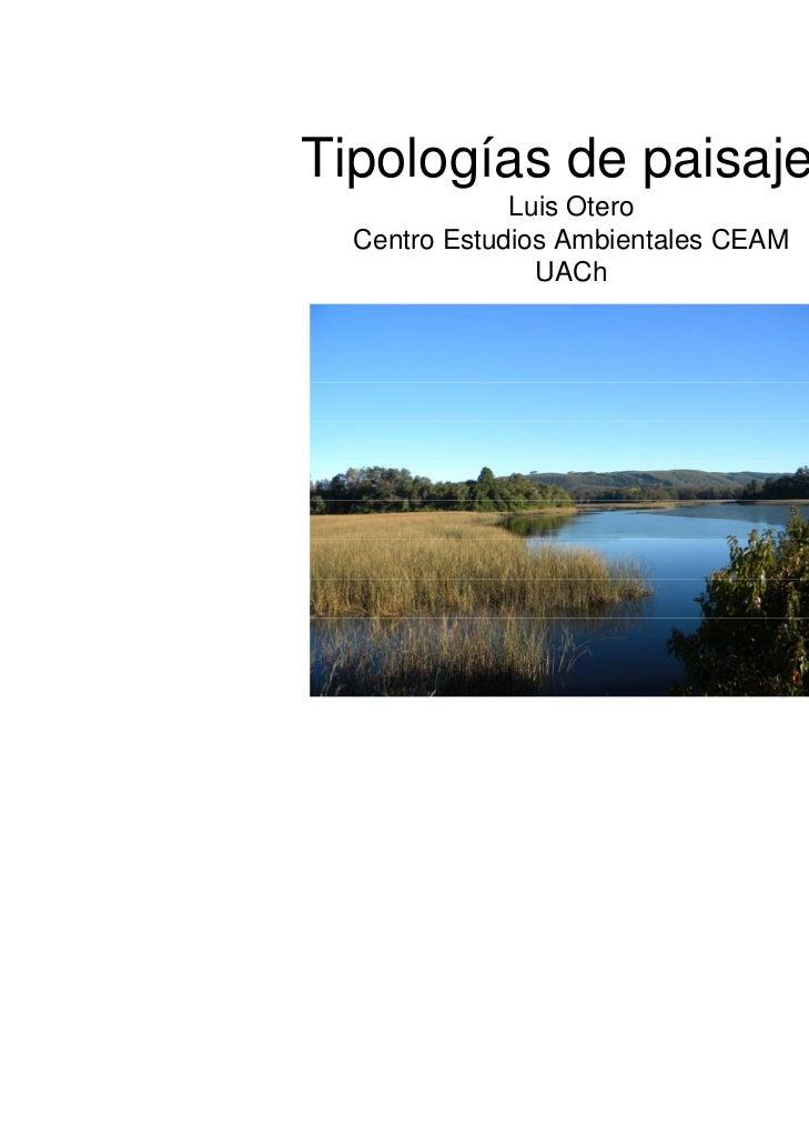 Tipologías de paisajes              Luis Otero  Centro Estudios Ambientales CEAM                UACh
