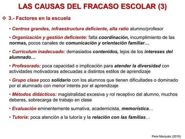 LAS CAUSAS DEL FRACASO ESCOLAR (3)  3.- Factores en la escuela • Centros grandes, infraestructura deficiente, alta ratio ...