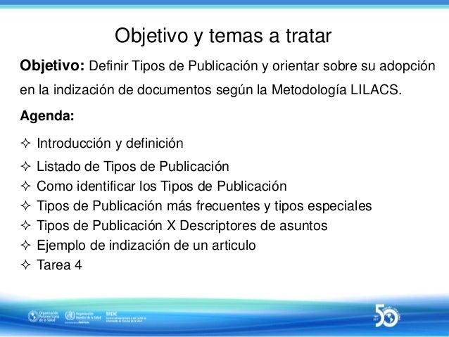 Sesión 4 de 10 - Uso de Tipos de Publicación en la indización LILACS Slide 2