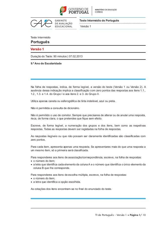 Teste Intermédio de Português Versão 1  Teste Intermédio  Português Versão 1 Duração do Teste: 90 minutos | 07.02.2013 9.º...