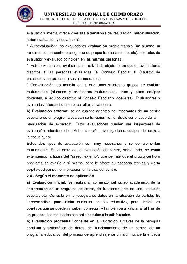 UNIVERSIDAD NACIONAL DE CHIMBORAZO FACULTAD DE CIENCIAS DE LA EDUCACION HUMANAS Y TECNOLOGIAS ESCUELA DE INFORMATICA evalu...