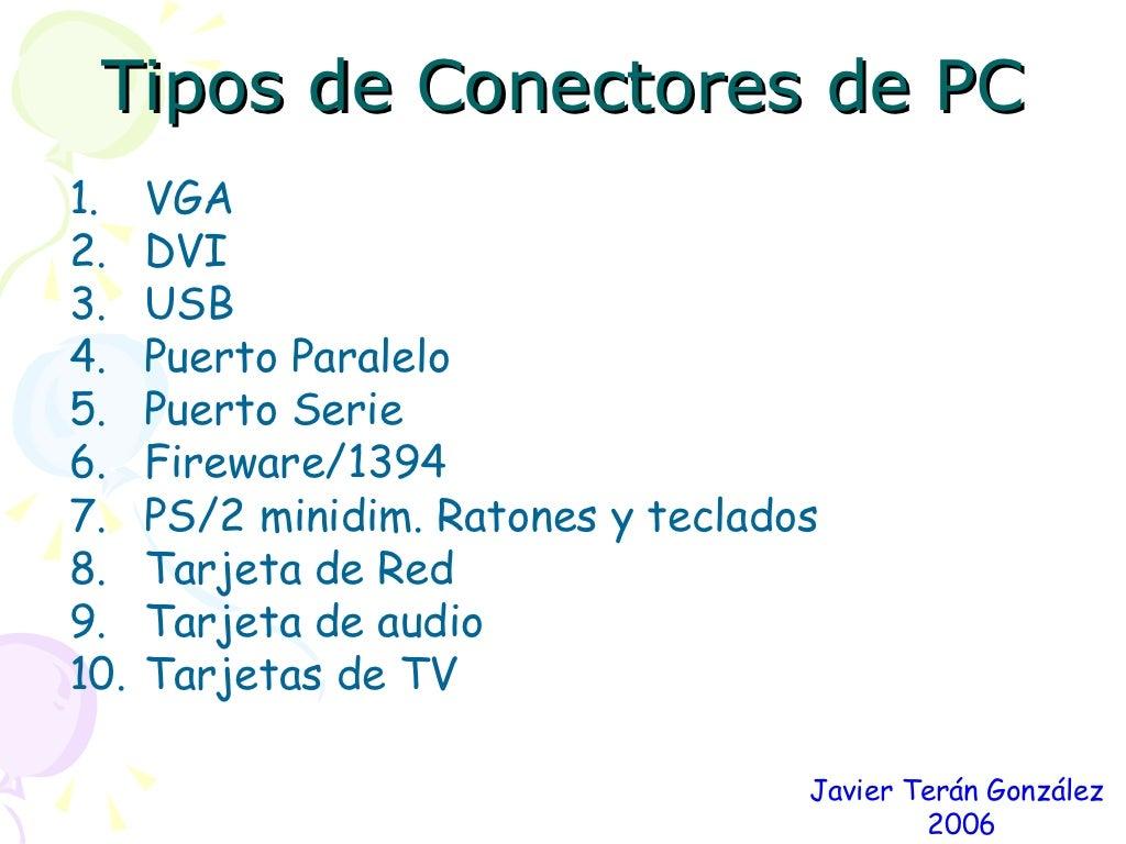 Tipos de conectores de PC