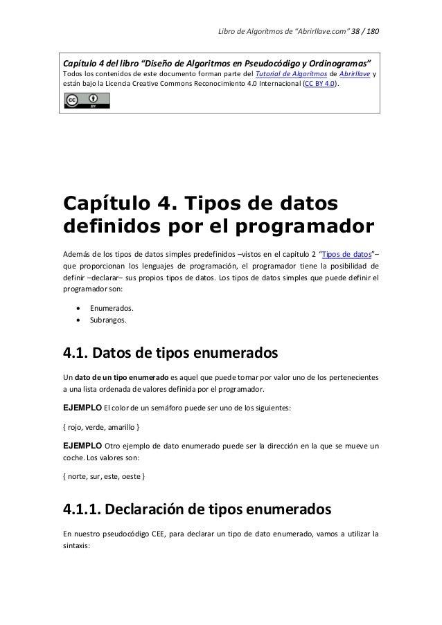 """Libro de Algoritmos de """"Abrirllave.com"""" 38 / 180 Capítulo 4 del libro """"Diseño de Algoritmos en Pseudocódigo y Ordinogramas..."""