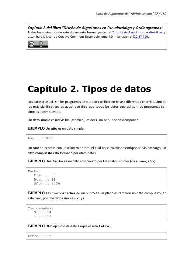 """Libro de Algoritmos de """"Abrirllave.com"""" 17 / 180 Capítulo 2 del libro """"Diseño de Algoritmos en Pseudocódigo y Ordinogramas..."""