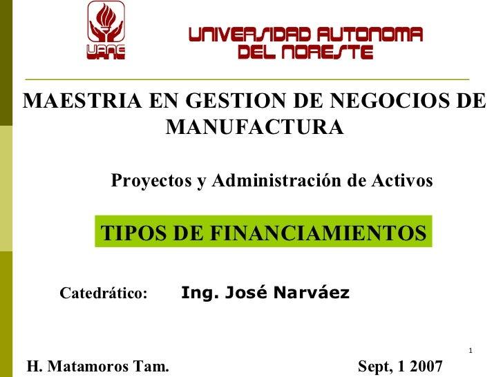 MAESTRIA EN GESTION DE NEGOCIOS DE MANUFACTURA Proyectos y Administración de Activos Catedrático:  Ing. José Narváez TIPOS...