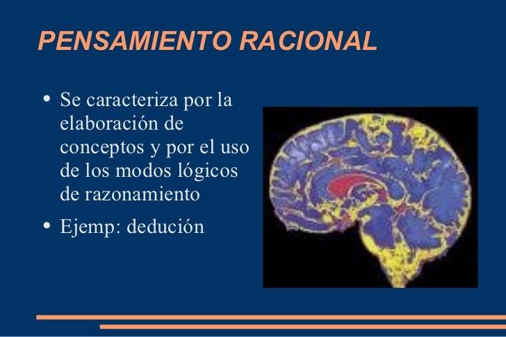 PENSAMIENTO RACIONAL <ul><li>Se caracteriza por la elaboración de conceptos y por el uso de los modos lógicos de razonamie...
