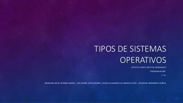 """TIPOS DE SISTEMAS OPERATIVOS CETIS 155 JOSEFA ORTIZ DE DOMINGUEZ """"PROGRAMACIÓN"""" 5 """"A"""" BRANDON DAVID HERRERA IBARRA , LUIS ..."""