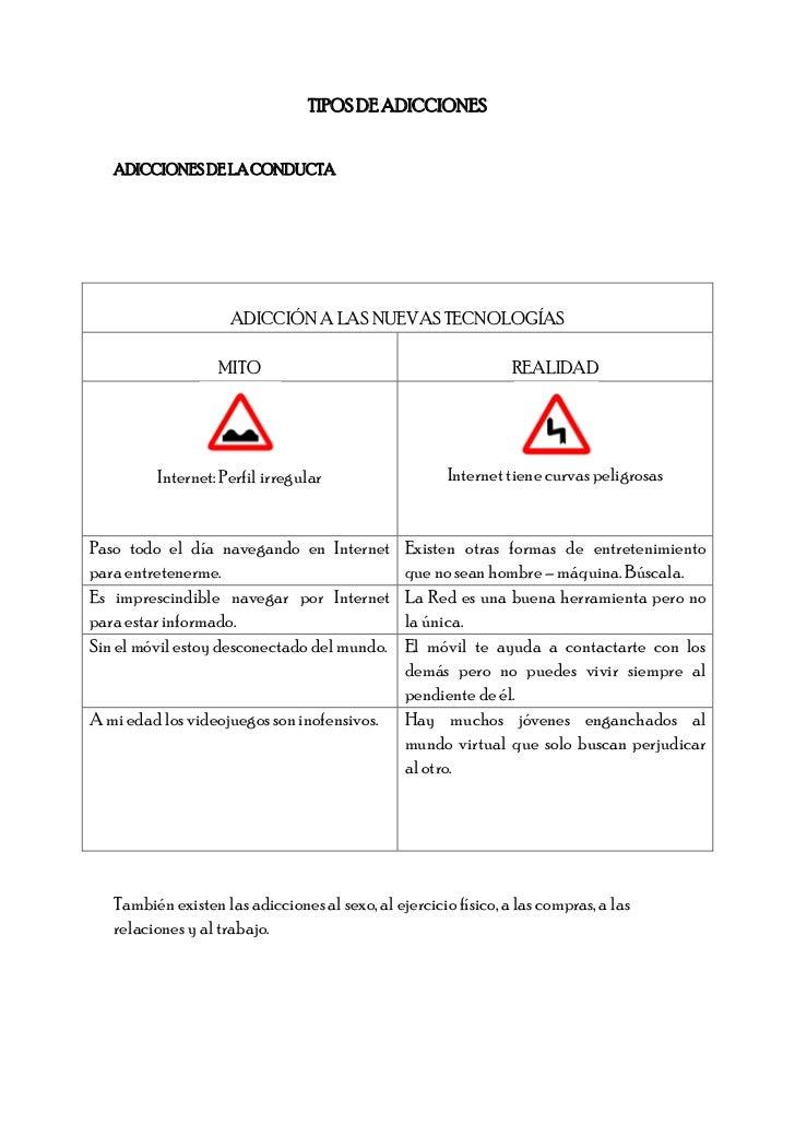 TIPOS DE ADICCIONES   ADICCIONES DE LA CONDUCTA                     ADICCIÓN A LAS NUEVAS TECNOLOGÍAS                   MI...
