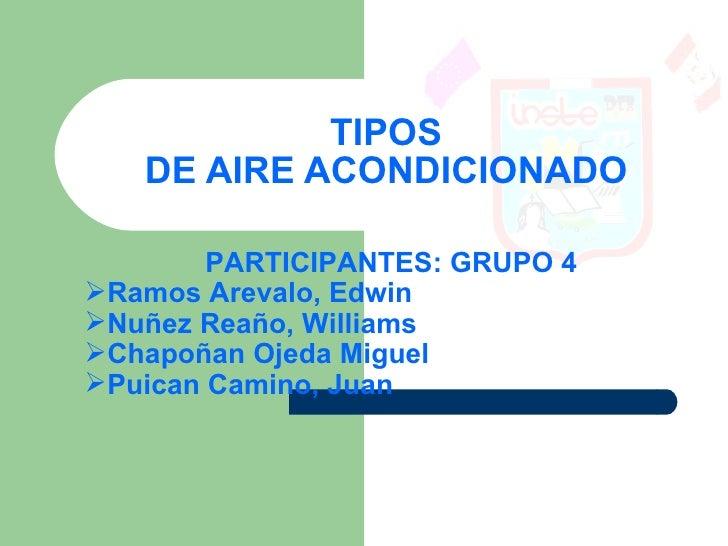 TIPOS    DE AIRE ACONDICIONADO          PARTICIPANTES: GRUPO 4 Ramos Arevalo, Edwin Nuñez Reaño, Williams Chapoñan Ojed...