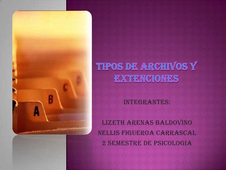TIPOS DE ARCHIVOS Y EXTENCIONES<br />Integrantes:<br />LIZETH ARENAS BALDOVINO<br />NELLIS FIGUEROA CARRASCAL<br />2 semes...