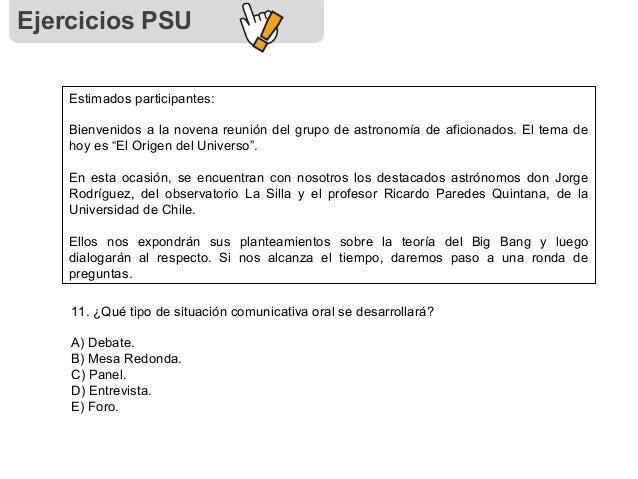 Ejercicios PSU Estimados participantes: Bienvenidos a la novena reunión del grupo de astronomía de aficionados. El tema de...