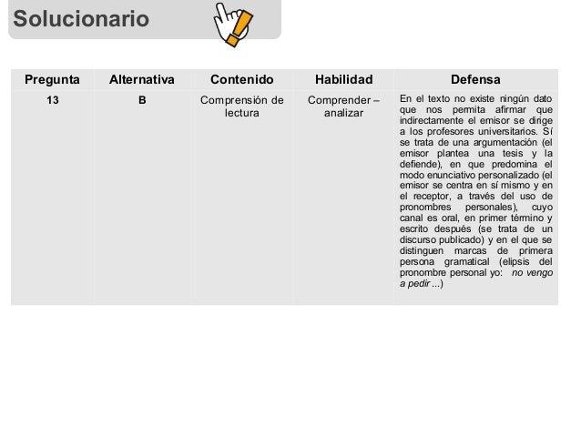 Solucionario Pregunta Alternativa Contenido Habilidad Defensa 13 B Comprensión de lectura Comprender – analizar En el text...