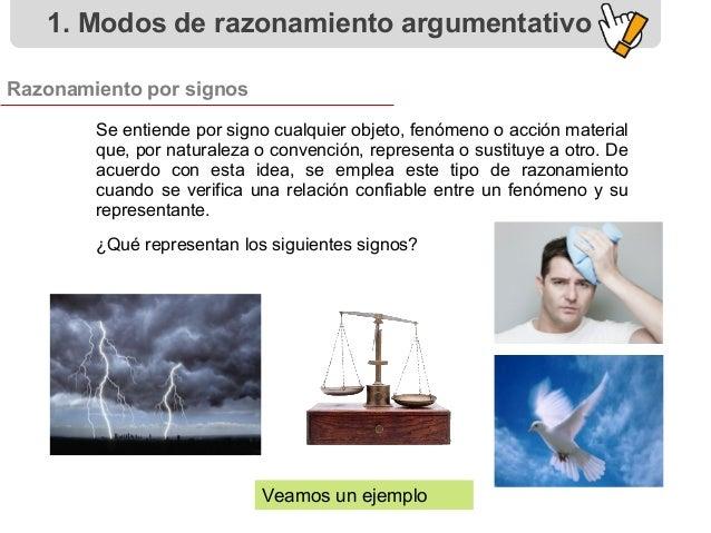 Razonamiento por signos 1. Modos de razonamiento argumentativo Se entiende por signo cualquier objeto, fenómeno o acción m...