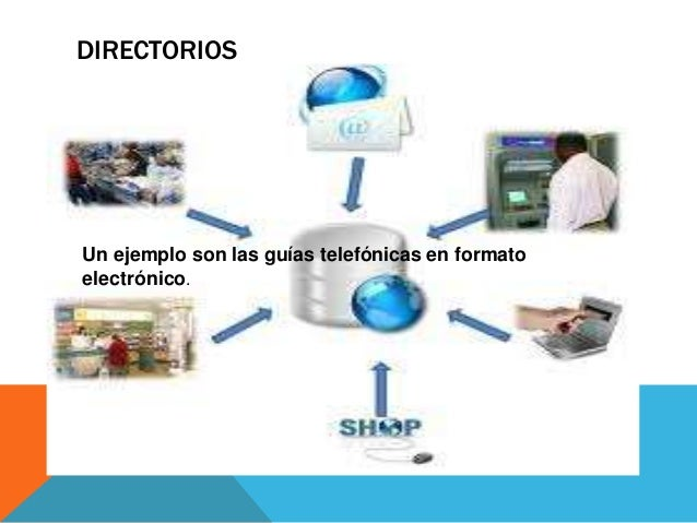 DIRECTORIOSUn ejemplo son las guías telefónicas en formatoelectrónico.