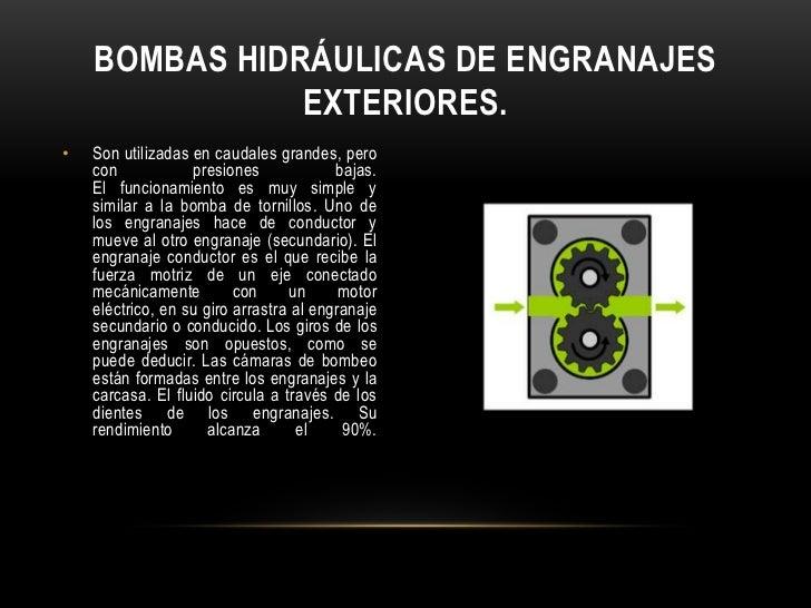 BOMBAS HIDRÁULICAS DE ENGRANAJES               EXTERIORES.•   Son utilizadas en caudales grandes, pero    con            p...