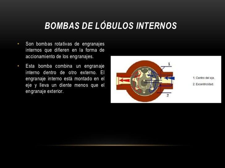 BOMBAS DE LÓBULOS INTERNOS•   Son bombas rotativas de engranajes    internos que difieren en la forma de    accionamiento ...