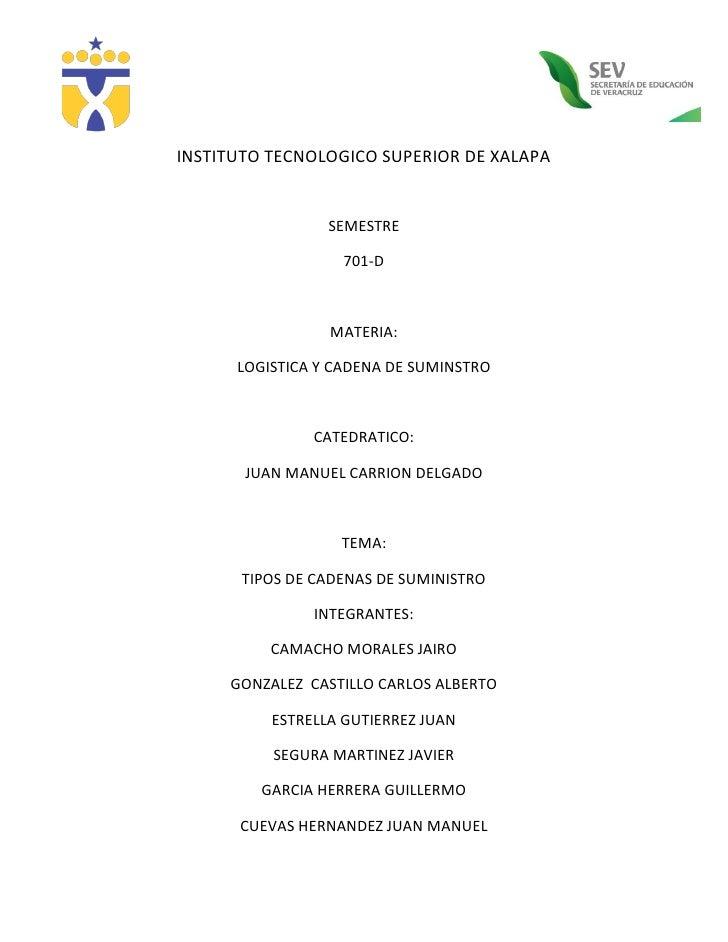 INSTITUTO TECNOLOGICO SUPERIOR DE XALAPA                 SEMESTRE                   701-D                 MATERIA:      LO...