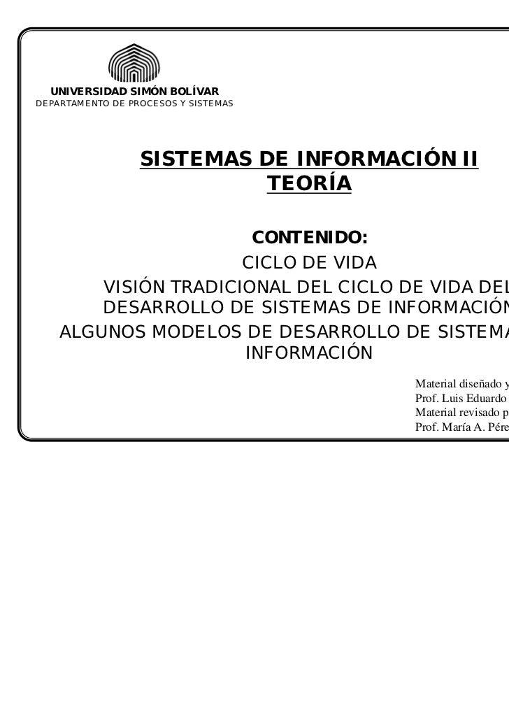 UNIVERSIDAD SIMÓN BOLÍVARDEPARTAMENTO DE PROCESOS Y SISTEMAS                  SISTEMAS DE INFORMACIÓN II                  ...