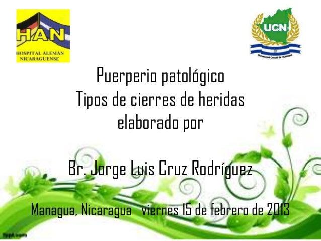 Puerperio patológico        Tipos de cierres de heridas               elaborado por      Br. Jorge Luis Cruz RodríguezMana...