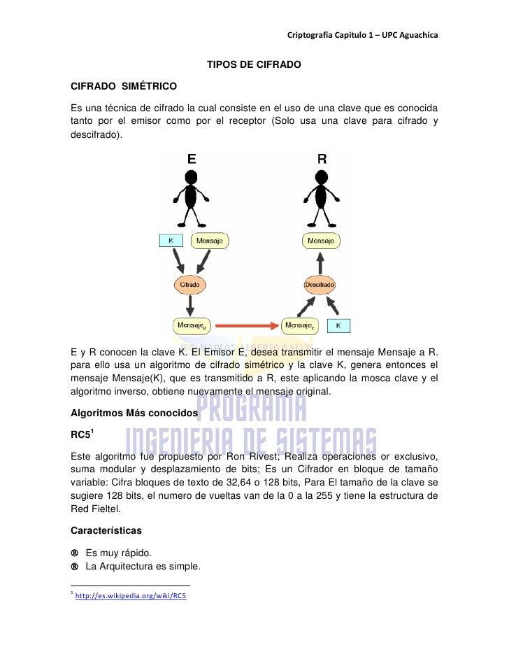 Criptografía Capitulo 1 – UPC Aguachica                                          TIPOS DE CIFRADO  CIFRADO SIMÉTRICO  Es u...