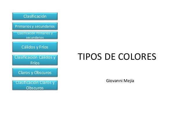 TIPOS DE COLORES Giovanni Mejía Clasificación Primarios y secundarios Clasificación Primarios y secundarios Cálidos y Frío...